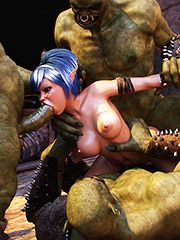 Thirsty hoes encounter thrilling monsters for hard sex - Ardent heat  by 3D Collection