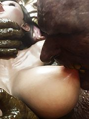 Dirty creatures surround and gangbang a pretty girl - Monster eater part 1  by 3D Collection