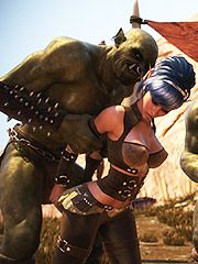 Three ugly orcs want to have some sexy fun with her - Lycan manor  by 3D Collection